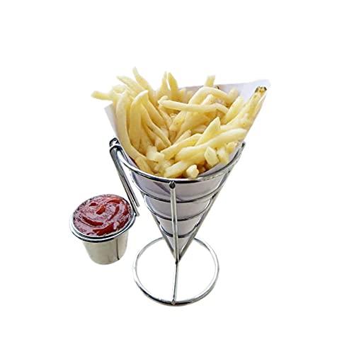 Jualyue Francés Fry Titular con Doble Salsa De Soporte Cono Fries Holder Sostiene Palomitas Verduras Frutas Y Otros Aperitivos De Accesorios
