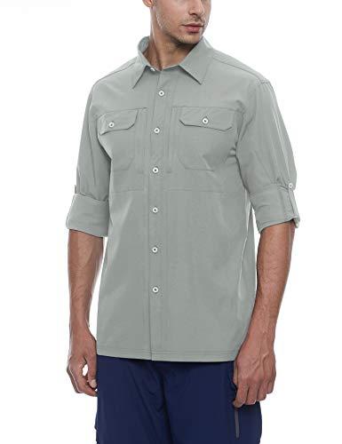 Little Donkey Andy Camisas para hombre, de secado rápido, resistentes al agua, UPF50+, para senderismo, viajes, camping, gris claro, talla L