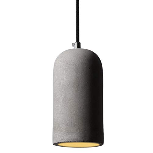 Modern Pendelleuchte Beton E27 Industrie Hängelampe mit Textilkabel Gray Zylinder Deckenleuchte Betonlampe Wohnzimmer Esstisch Lampe Leuchte max. 60 W 230 V