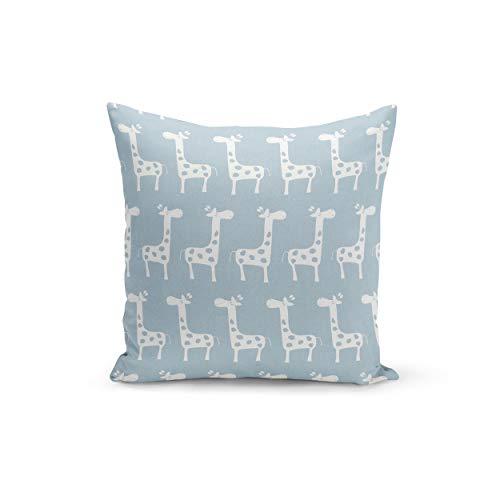 Funda de cojín elástica con cierre de cremallera, diseño de jirafa, color azul y blanco