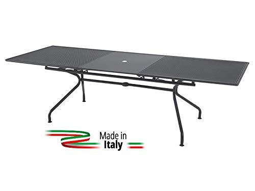 Emu Table Extensible pour extérieur modèle Athena marquage Mesure 160 + 50 x 90H cm – Couleur Fer Ancien – Fabriqué en Italie