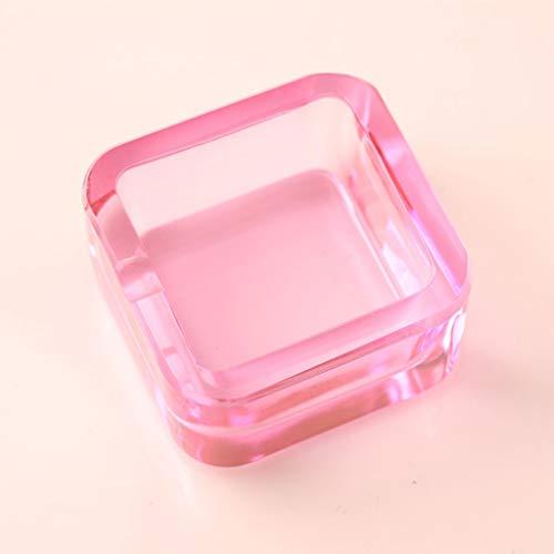 Cristal Vaso Cuadrado Ceniceros para Cigarros y Cigarrillos para Interior y Al Aire Libre Decorativo Arte -Rosa(L)