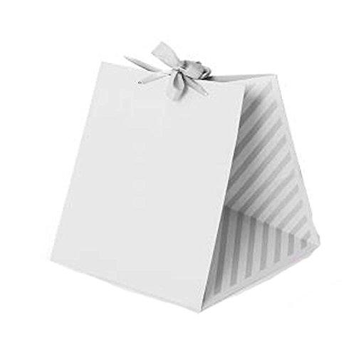 Ensemble de 3 Boîte Fleur Emballage cadeau carré Sac de papier Kraft Paniers de fleurs, Gris