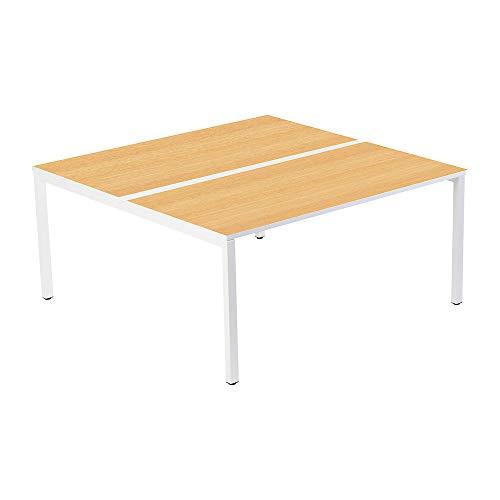 gaerner 2er-Teamschreibtisch mit 60 mm Kabelführung zwischen den Tischplatten | BxTxH = 1200 x 600/1260 x 750 mm | weiß/Buche Bürotisch