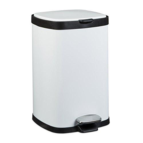 Relaxdays Poubelle ronde à pédale 12 litres H x D: 40,5 x 26,5 cm Seau amovible vide-ordures avec couvercle en métal pour la cuisine et la salle de bain, blanc