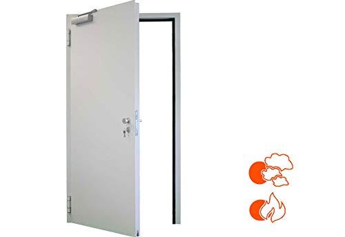 1250x2250 rechts T30 Brandschutztür rauchdicht mit absenkbarer Bodendichtung Eckzarge für Beton und Mauerwerk FSA62