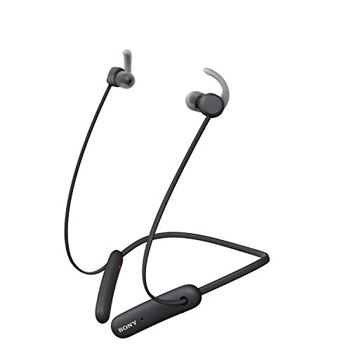 Sony WISP510B - Auriculares inalámbricos Deportivos (15 h de batería, Resistencia IPX5, diseño Neckband, Recoge Cable magnéticamente, soporta ARC, Micro para Llamadas Manos Libres) Negro