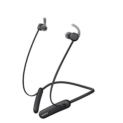 Sony WI-SP510 kabellose Bluetooth In-Ear Kopfhörer (bis zu 15 Stunden Akkulaufzeit, IPX5 wasserfest, sicherer Halt, Neckband-Style, Ohrhörer, Freisprechfunktion, Headset mit Mikrofon) Schwarz