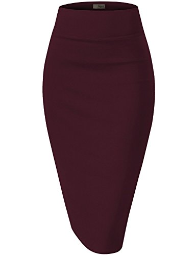 Womens Premium Stretch Office Pencil Skirt KSK45002 Wine Small