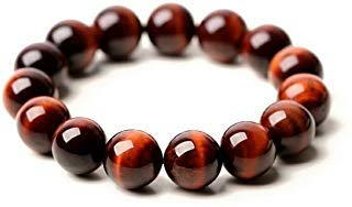 Jaipur Gems Mart Natürliche AAA Red Tiger Eye Armband Stretch-Armband | 7-7,5? Länge Armband Tigerauge Armband Edelstein | Unisex-Armband | 12mm runde Form Perlen | Männer Perlen Armband