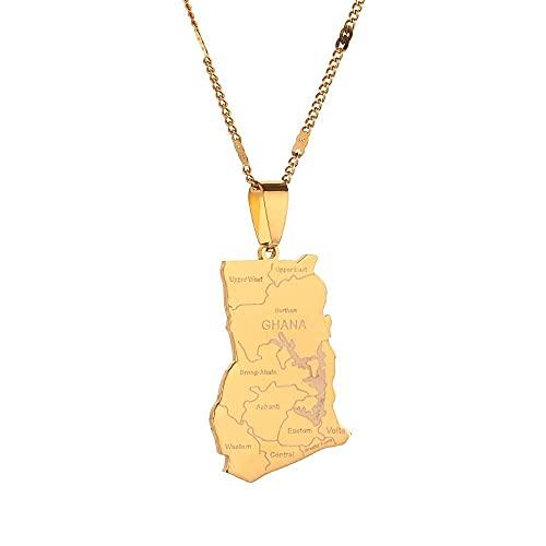Kkoqmw Collares con Colgante de Mapa de Ghana de Color Dorado de Acero Inoxidable