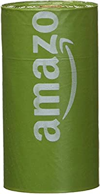 AmazonBasics Unscented Dog Poop Bags with Dispenser and Leash Clip, 13 x 9 Inches, Green - Pack of 270