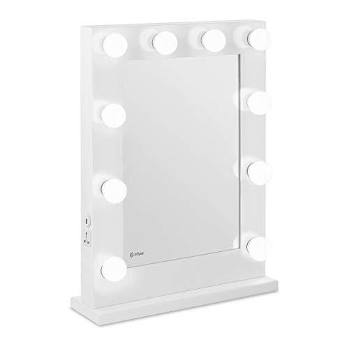Physa Espejo Hollywood De Maquillaje Phy-CM-9 White (Marco Blanco, 10 Bombillas LED 6.400 K / CRI 80, Rectangular, con Enchufe y USB)