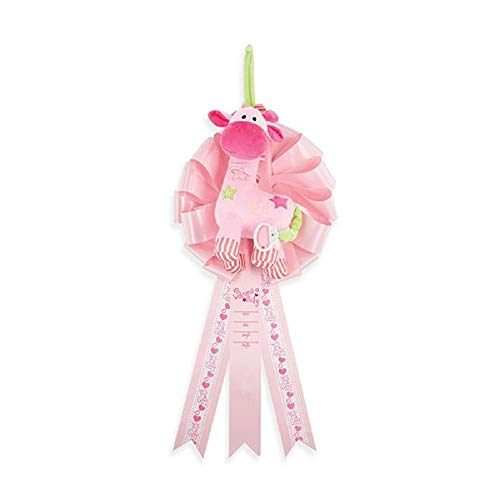 Baby Girl Birth Announcement Sign Ribbon | Welcome Baby Newborn with It's a Girl Hospital Door Hanger | Musical Giraffe Plays Lullaby | Baby Shower Decorations and Gifts for Expecting Parents