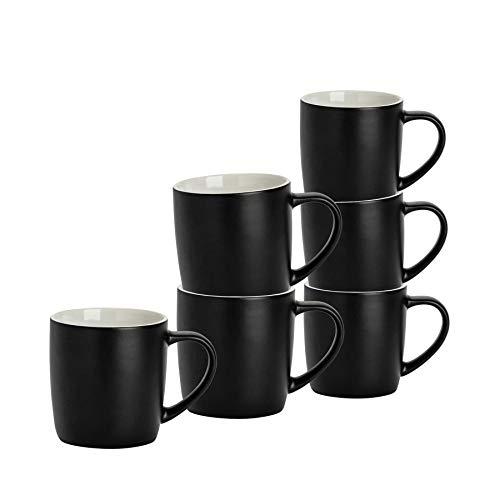 Argon Tableware 6 Stück Matt Tee und Kaffeetasse Set - Modern Style Porzellan Cappuccino Latte Becher - Schwarz - 350ml