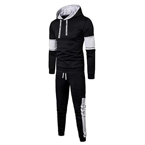 Aiserkly Herren Jogginganzug Trainingsanzug Sportanzug Fußball Sporthose Hoodie Hose für Gym Warm Tracksuit Herbst Winter Streatwear Schwarz XL