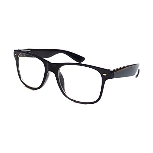 KIDS Childrens Nerd Retro Oversize Black Frame Clear Lens Alabama