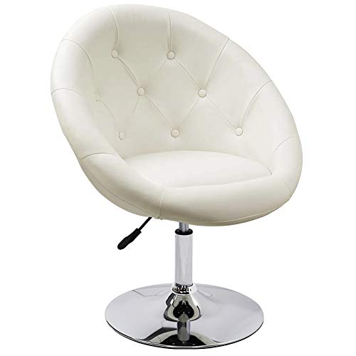 Duhome Jumbo Size Luxury White Synthetic Leather Contemporary Round Swivel Vanity Office Computer Accent Chair Tufted Adjustable Lounge Pub Bar