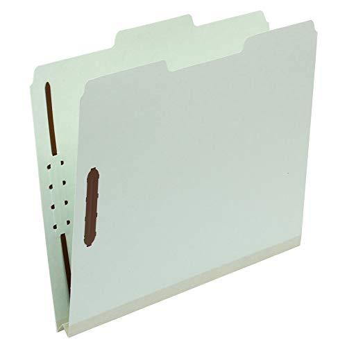 "Amazon Basics Pressboard Fastener Folder - 100% Recycled, 1/3 Tab, 1"" Expansion, 2"" Fastener, Light Green, Letter, 25Count"