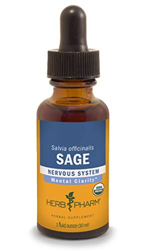 Herb Pharm Certified Organic Sage Liquid Extract for Mental Clarity Support - 1 Ounce