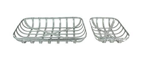 Set of 2 Galvanized Metal Rectangular Tobacco Basket Trays/Wall Hangings