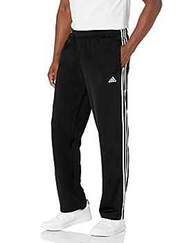 adidas Men s Standard Essentials Warm-Up Open Hem 3-Stripes Tracksuit Bottoms Black/White Large
