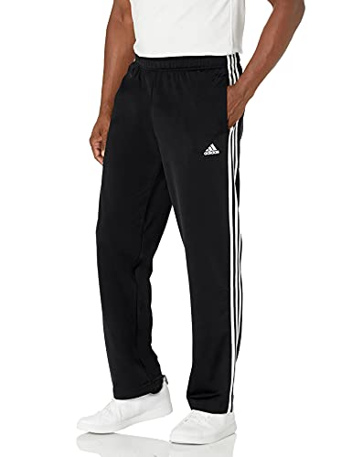 adidas Men's Standard Essentials Warm-Up Open Hem 3-Stripes Tracksuit Bottoms, Black/White, Large