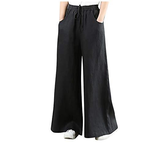 Chejarity Pantalones de lino para mujer, pantalones de playa, de lino, bohemios, anchos, pantalones de verano, cintura elstica, con bolsillos, pantalones de ocio Negro XXL