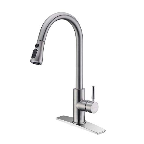 FORIOUS Kitchen Faucet with Pull Down Sprayer Brushed...