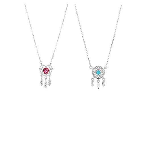 caihuashopping Collares de Mujer de Moda Collar Femenino Ideal del colector Collar de Plata de Ley 925 Colgante Temperamento Retro clavícula Cadena Collar Dia De La Madre Regalos (Color : Red)