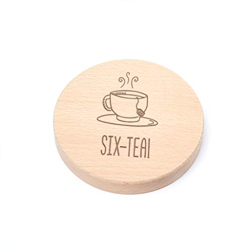 'Six-Tea!' Engraved Wooden Coaster - Funny 60th Birthday Gift for Tea...