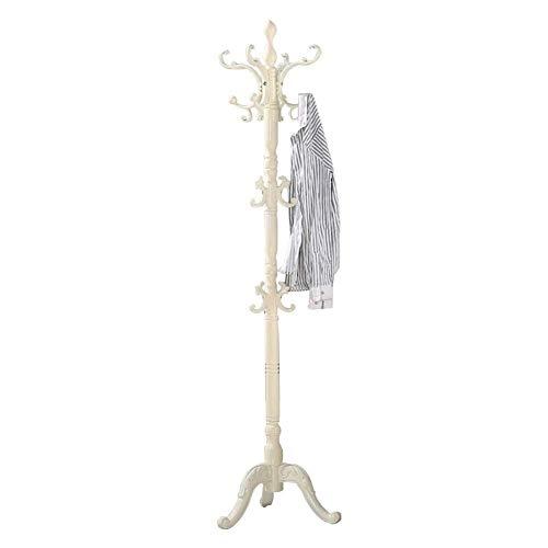 Kapstok Home Floor staande mantel hoedenhouder om op te hangen graveren vintage waterdicht berk 2 kleuren opslag (kleur: wit ivoorkleurig, maat: 45 x 183 cm)