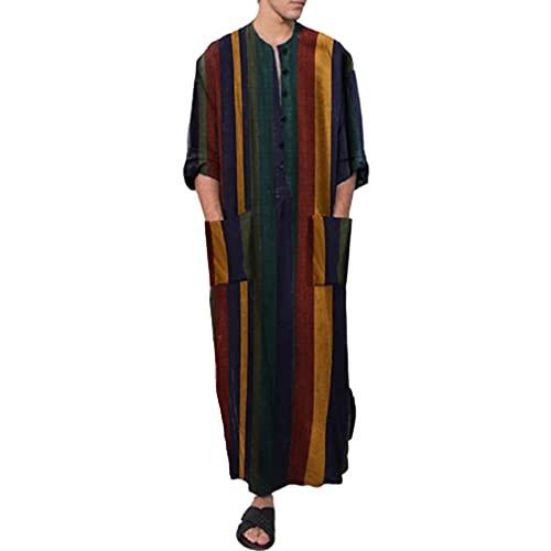 Hombres Musulmanes Thobe - Botones Sueltos Kaftan Oriente Medio Arabia Saudita Trajes Camisa a Rayas Vestido árabe para Hombres Túnica de Lino Vestido Kaftan Islámico Abaya