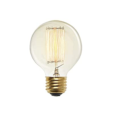 Edison Globe G25 Light Bulbs - 40W, E26 Base, Dimmable, Warm White, Vintage Style, Squirrel Cage Filament, Brooklyn Bulb Co. Midwood Design - Set of 4