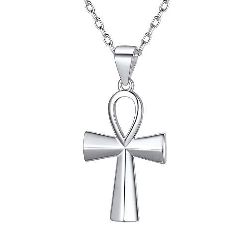 ChicSilver Colgante Cruz Egipcia Ankh Collar Religioso Plata de Ley 925 Oro Blanco Mujeres Regalo Culturismo Talismán de Protección para Familia Amigos