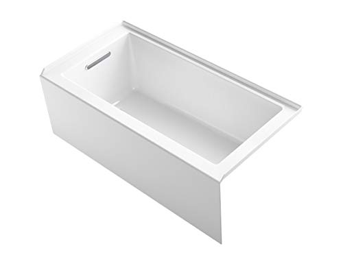 "KOHLER 1956-LA-0 Underscore 60"" x 30"" Bath Apron, Integral Flange and Left-Hand Drain Alcove Bathtub, White"