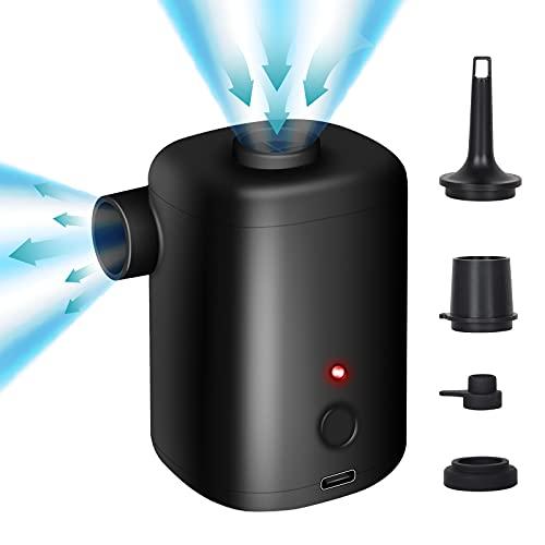 SUNTA電動エアポンプ,Type-C充電ポート,充電式自動ポータブルエアポンプは 3000mAhは,エアベッド、プール、ブイ、高速インフレーションに使用できます,日本語取り扱い説明書付き