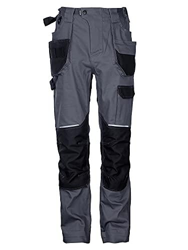 DINOZAVR Flex Pantalones de Trabajo elásticos Estilo Cargo para Hombre - Resistentes, con Bolsillos multifuncionales para Rodilleras y Franjas Reflectantes - Gris - EU48