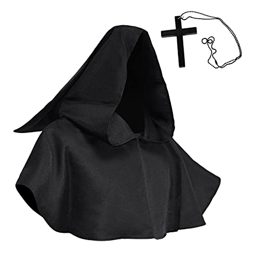 Collar con colgante de cruz, sombrero de bruja y cruz para Halloween, disfraz religioso, app.10.3x50cm/4.06x1.97in,