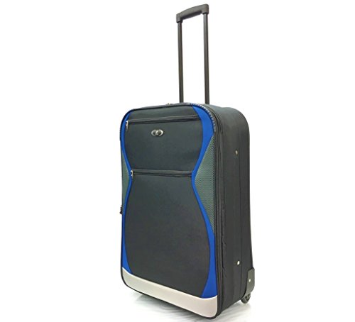 "26"" Medium Super Lightweight Expandable Durable Hold Luggage Suitcase Trolley Case Travel Bags with 2 Wheels (26' Medium, Black/Blue 1128)"