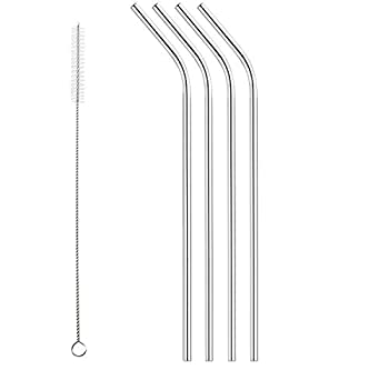 Set of 4 Stainless Steel Drinking Straws Universally Fits 16 oz - 40 oz cups including RTIC and Yeti 20 oz 30 oz and FIREKI 40 oz Tumblers Cleaning Brush Included