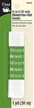 Dritz 9301W Ribbed Non-Roll Woven Elastic White 3/4-Inch by 1-Yard