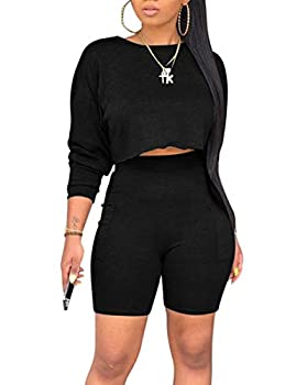 cailami Women s Casual 2 Piece Club Outfit Jumpsuit Crop Tops Bodycon Shorts Set with Pockets Medium Black