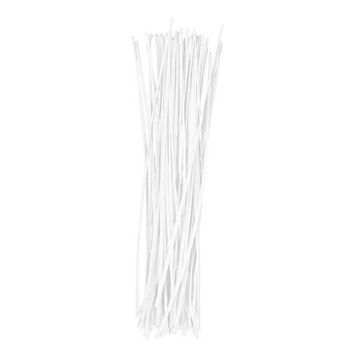 OUNONA Rosenbl?tter aus 15?cm Kunststoff beschichtetem Eisendraht Twist Kabelbindern Kabel Wrap Organizer Kabelbinder (wei?)