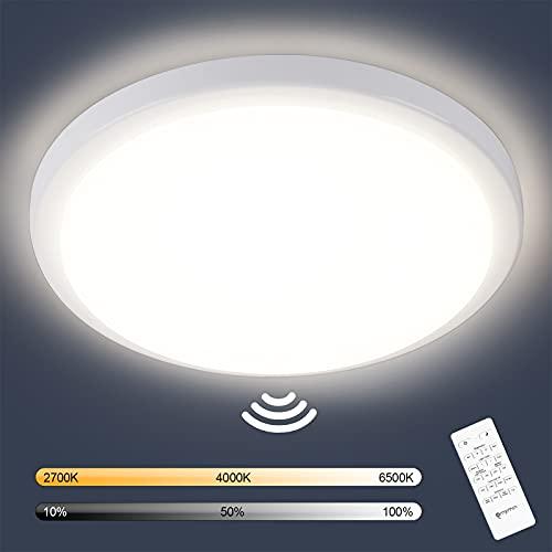 Oraymin LED Deckenleuchte mit Bewegungsmelder, 18W 1800LM LED Deckenlampe Dimmbar mit Fernbedienung, IP54 Badlampe für Wohnzimmer, Garage, Badezimmer, Treppen, Balkon, Flur, Keller, 2700K-6500K, φ25cm
