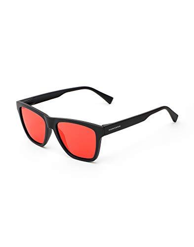 HAWKERS Gafas de Sol LS Black Daylight, para Hombre y Mujer, con Montura Acabado Mate y Lentes Efecto Espejo, Protección UV400, Negro/Amarillo, One Size Unisex Adulto