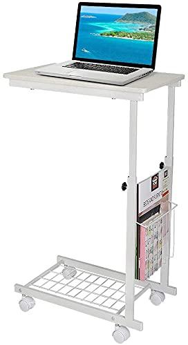 Tabla móvil Ajustable de la Mesa de la Mesa de la Mesa del sofá Mesa de la Mesa de la Mesa de la Cama Debajo de la Altura Ajustable Mesa de portátil con Ruedas (Color : Blanc)
