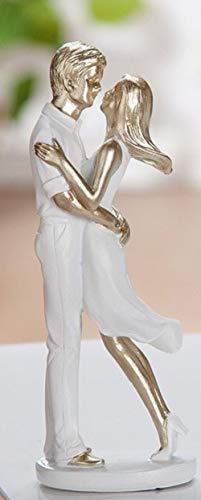 G.H. Themen Figur, Skulptur SOMMERPÄRCHEN, Modell Umarmung, aus lackiertem Kunststein, Farbe Weiss & Gold, durch wundervolles Design in Szene gesetzt, Größe 15 x 6 x 4 cm