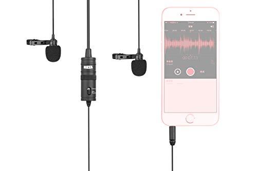 BOYA BY-M1DM - Micrófono de Solapa Doble omnidireccional con Clip de Condensador para Canon Nikon, Sony, cámaras réflex Digitales para iPhone, Samsung, Huawei, grabadoras de Audio