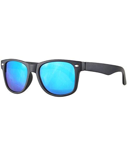 Caripe Caripe Kinder Mädchen Jungen Sonnenbrille Retro Design verspiegelt + getönt - barna (One Size, schwarz matt - blau verspiegelt-143)